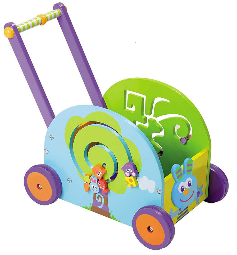 Image of Boikido Wooden Push And Play - Rabbit Wagon on white background