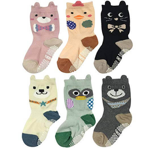 Image of 6 pairs of Wrapables Peek A Boo Animal Non-Skid socks on white background
