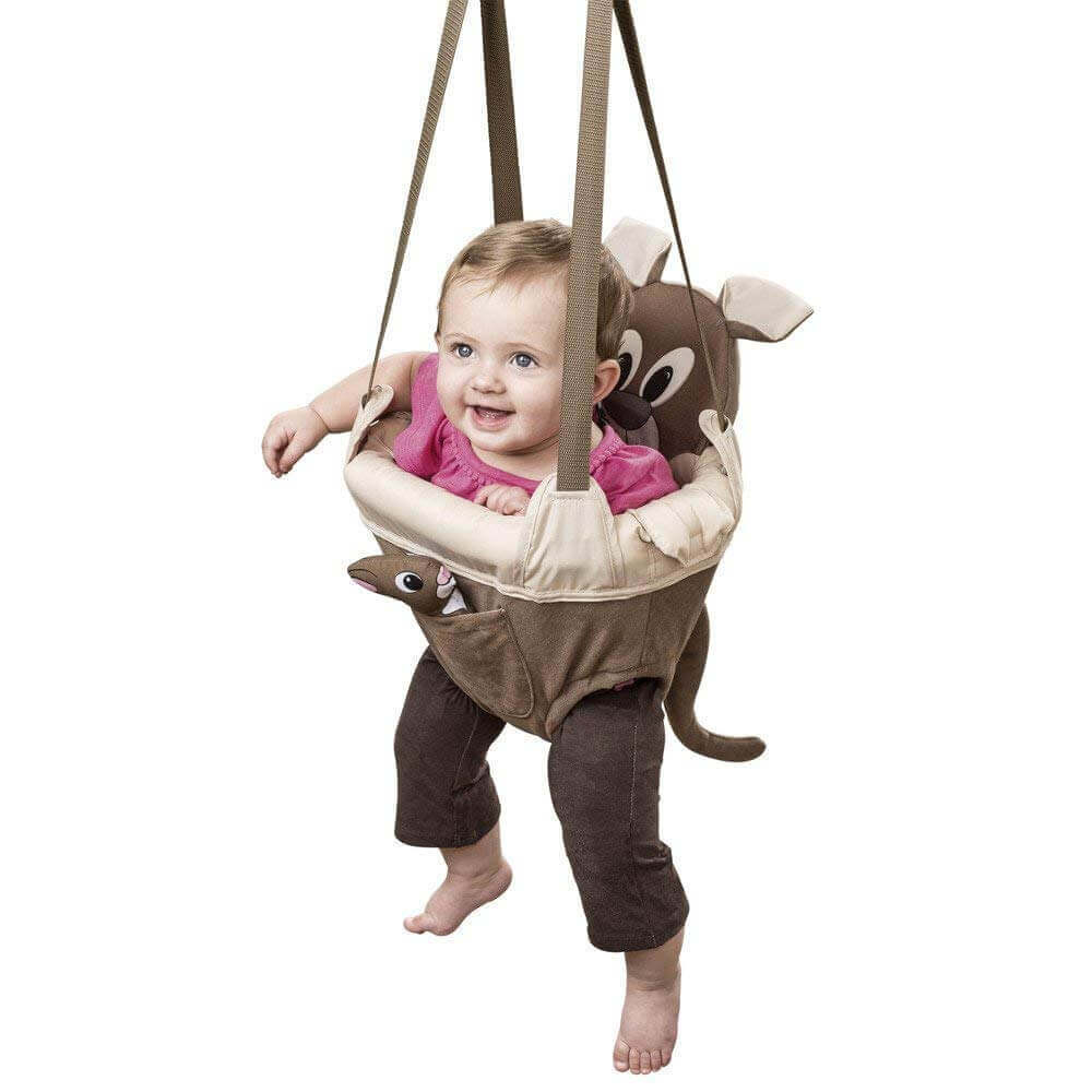 Image of a baby in Evenflo ExerSaucer Door Jumper on white background.
