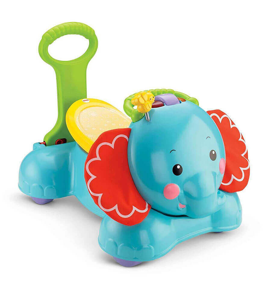 Image of Fisher-Price 3-in-1 Bounce, Ride Elephant on white background