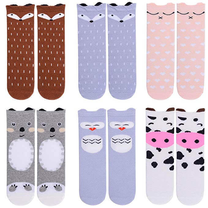 Image of 6 pairs of Knee-High Socks on white background