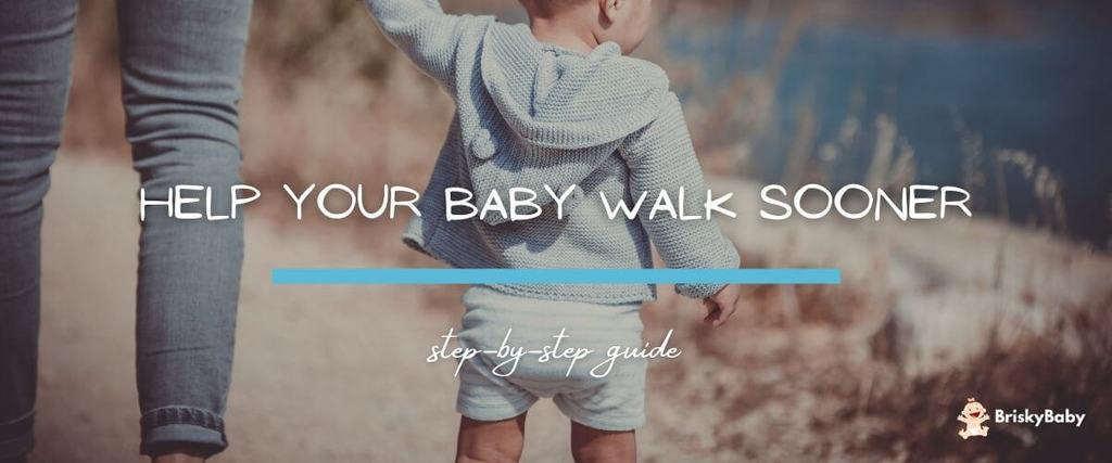 Mother is helping baby walk sooner
